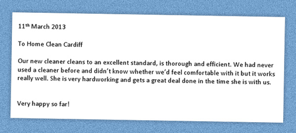 Testimonial for Cardiff Cleaning Services
